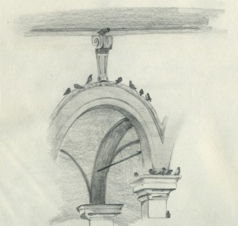 Pencil study of architecture in Piazza SS. Annunziata, Florence, Italy