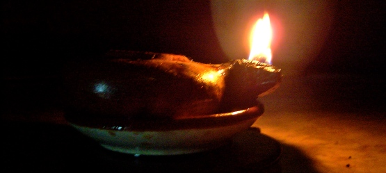 Oil lamp burning