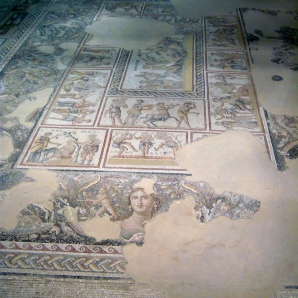 This mosaic is found in the Temple of Dionysus, Greek god of fertility and wine (and all that both imply). The mosaic includes many panels depicting stories from the life of Dionysus.