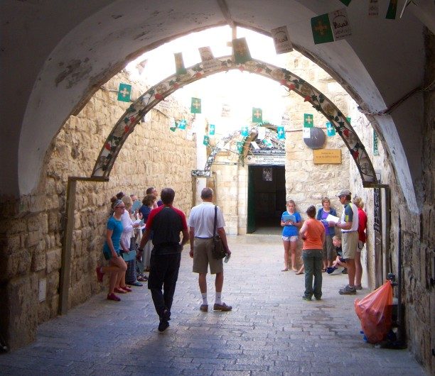 One of the last stations of the Via Dolorosa, just outside the Church of the Holy Sepulchre