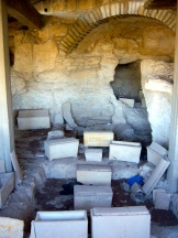 Ossuaries are stone boxes used to house the bones after the body has decayed. This saves space in family tombs in order to bury many generations together.