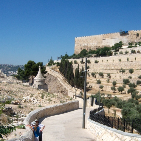 The Kidron Valley path lies below the historic Jerusalem. Just above the path is the Temple Mount.