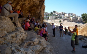 We stop along the path to look out over the Kidron Valley and hear about the crucifixions that would have been a frequent sight here in Jesus' day, as a warning to visitors to submit to Rome's authority, or else.
