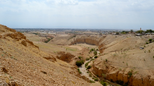 The riverbed continues on toward the modern city of Jericho.