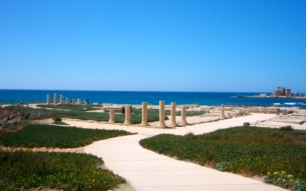 Herod's Promontory Palace, built on the Mediterranean, overlooked the Hippodrome, the expansive marble and tile mosaic baths, and the man-made harbor at Caesarea Maritima. All of this would have been done to win the favor of Rome.