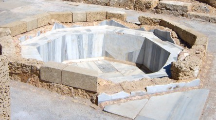 Caesarea Maritima includes a labyrinth of marble and tile mosaic baths like this.