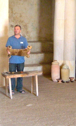 Our tour guide recites Luke 4 for us, rehearsing the story of Jesus reading from the scroll of Isaiah.