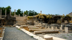 This is a smaller decumanus, which intersected the cardo maximus. This street was also lined with pillars, it seems.