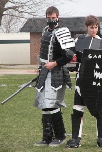 Another year's Cardboard-Duct Tape Battle, featuring a gladiator-style Sword and Shield pairing.