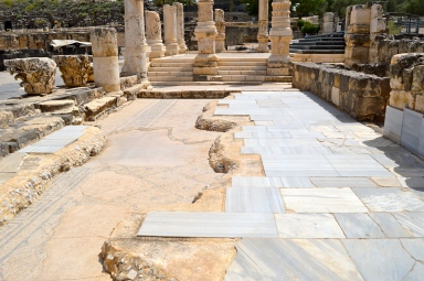Palladius Stree tile and marble pavement